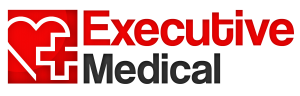 Executive Medical logo in Cool- Vetica font, with a heart and plus sign in a red square